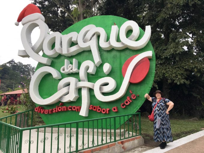 AJ and sign for the Parque del Cafe