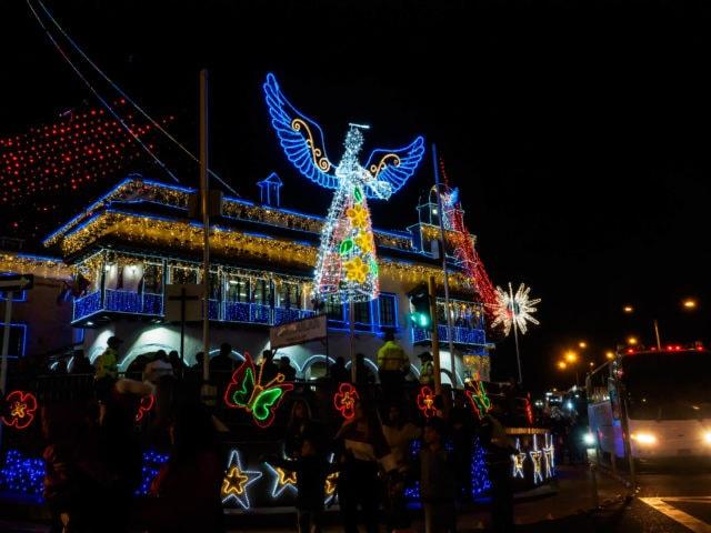 Christmas lights on buildings