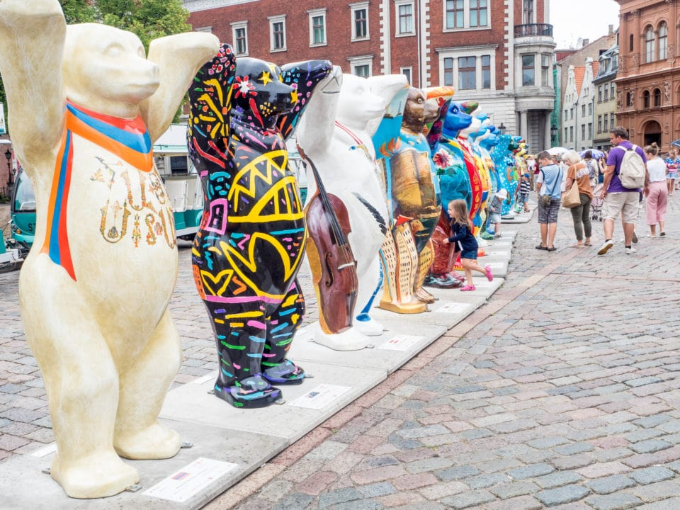 Public art exhibition of painted bear statues