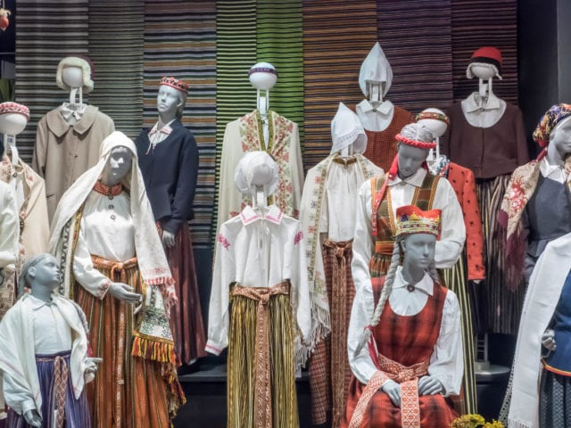 Mannequins in traditional Latvian clothing