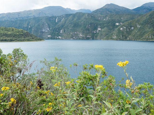 Lake Cuicocha on a cloudy day