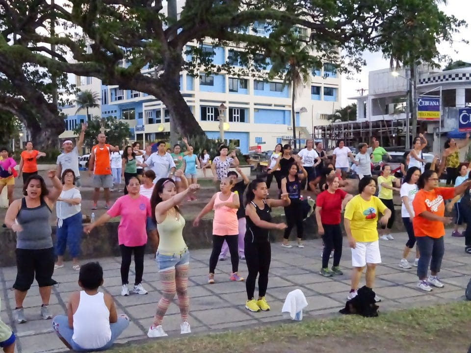 People doing aerobics in park in Dumaguete