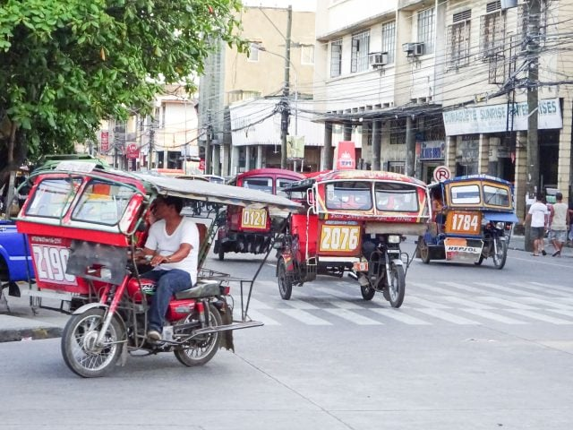 Tuk-tuk taxis in central Dumaguete