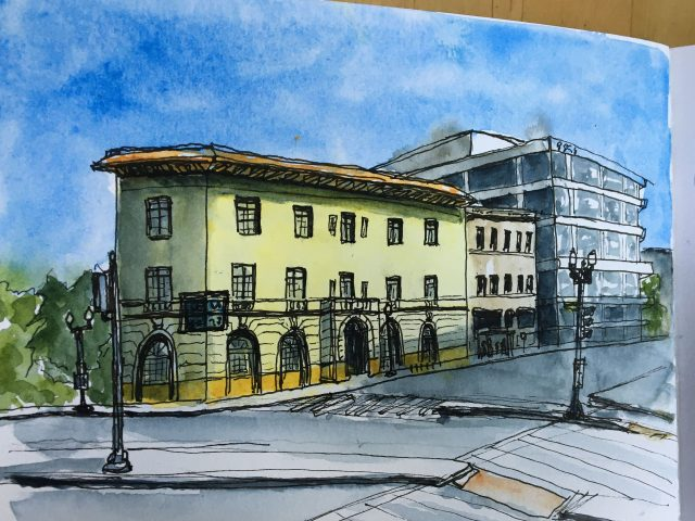 Watercolor of two buildings in Washington DC