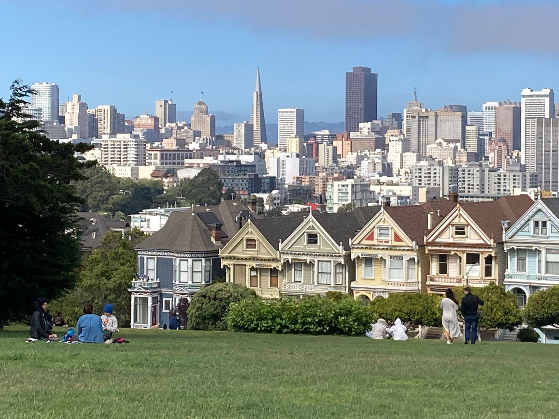 """People sitting in Alamo Square park with view of """"Painted Ladies"""" and downtown skyscrapers"""