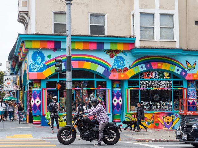 Brightly painted clothing store in Haight-Ashbury